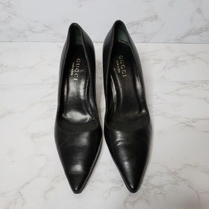Gucci Black Leather Pointed Toe Heels